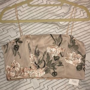 New embroidered floral crop top!